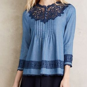 Holding Horses Laced Chambray Top